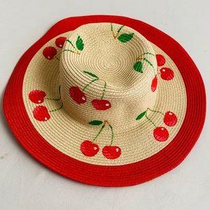 San Diego Hat Company cherry print straw hat OS